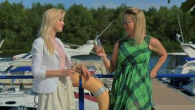 Two stylish women talk and drink champagne standing at the yacht club background. Two beautiful girlfriends spend their leisure time in luxury yacht club stock video footage
