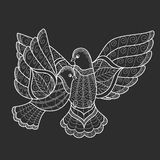 Two stylized dove in the style of zen tangle. Stock Photo