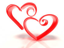 Two Stylized Hearts vector illustration
