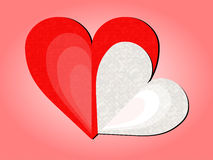 Two stylized hearts with pink background. For Happy Valentine`s Day stock illustration