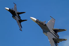 Two Su-30  in the blue sky Stock Photo