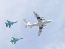 Two SU-34 and IL-78 Royalty Free Stock Photo