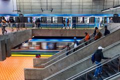 Free Two Subway Trains At Lionel Groux Station. Trains Is Leaving The Station. Stock Image - 161297561