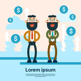 Two Successful Business Man Financial Money Growth Background. Flat Vector Illustration Stock Photo