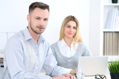 Two successful business partners working at meeting in office Royalty Free Stock Images