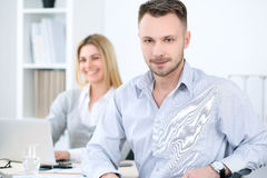 Two successful business partners working at meeting in office Stock Photo