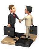 Two successful businessman on a puzzle. 3d Two successful businessman on a puzzle Royalty Free Stock Photos