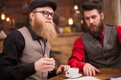 Two successful businessmen having an important meeting in vintage pub. Coffee cup. Attractive men. Teamwork royalty free stock image