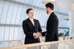Two successful and confident businessman talking in office shaki. Ng hands with each other Royalty Free Stock Image