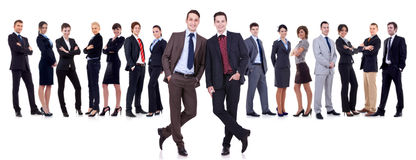 Two successful leaders and their team. On white background stock photo