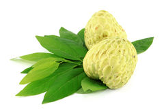 Two Sugar Apple and leaves Royalty Free Stock Photography