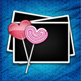Two sugar hearts with photo frames Royalty Free Stock Photos