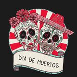 Two sugar skulls vector illustration for Day of the Dead. Mexican celebration Royalty Free Stock Photo