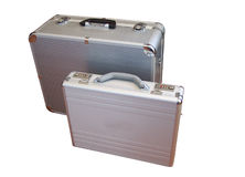 Two suit-case. S from aluminum manufactured, transport containers royalty free stock photos