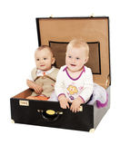 Two in a suitcase Royalty Free Stock Photography