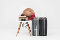 Two suitcase with shoes, and cemera ready for travel Royalty Free Stock Photography