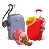 Two suitcases and childrens backpack Stock Photo