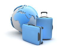 Two suitcases and earth globe Royalty Free Stock Photo