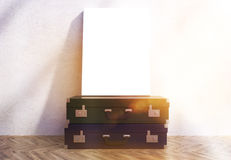Two suitcases and poster toning Royalty Free Stock Images