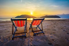 Two summer beach Chairs Stock Image