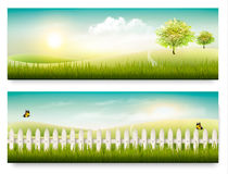 Two summer countryside landscape banners. Stock Photography