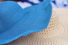 Two summer straw hats on the Alikanas beach, Zakynthos Island, Greece.Summer holiday background concept. Two summer straw hats on the Alikanas beach, Zakynthos stock images