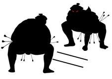 Sumo wrestler silhouette icon vector illustration. Two sumo wrestlers black silhouette vector illustration Royalty Free Stock Photography