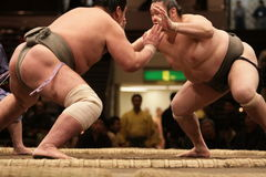 Two sumo wrestlers engaging in a fight