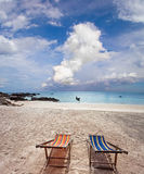 Two sun beach chairs Stock Images