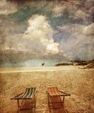 Two sun beach chairs Stock Image