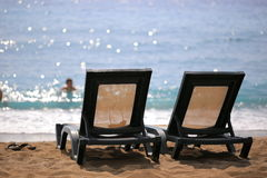 Two sun loungers Royalty Free Stock Photography