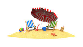 Two sun loungers and parasols on the beach Royalty Free Stock Photography