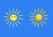 Two sun relaxed and happy Stock Image