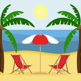 Two sunbeds with sun umbrella on the sandy beach with palm trees royalty free illustration