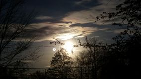 Two Suns. A beautiful sunset with a little sun next to it Royalty Free Stock Photography