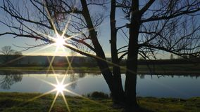 Two suns early morning. Two suns adove the lake early morning green grass Stock Image