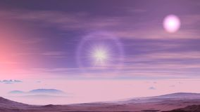 Two Suns, Sunset on Alien Planet. Rare clouds float in the dark sky. Two suns shine brightly. One of them, surrounded by a halo, moves to the horizon. In the royalty free illustration