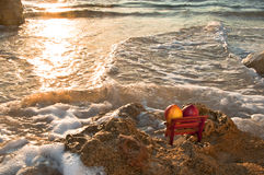 The Two at the Sunset. The sunset at the Mediterranean Stock Photo