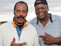 Two Super Bowl XLIX Weekend NFL Greats. Fred The Hammer Williamson and Hall of Famer John Randle were two of the NFL greats attending the annual Super Bowl royalty free stock photo