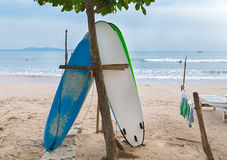 Two surf boards on sandy Weligama beach in Sri Lanka Stock Image