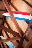 Two surfboards placed on beams Royalty Free Stock Images