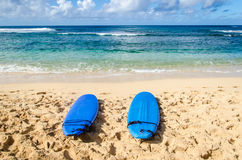 Two Surfboards on the sandy beach in Hawaii Stock Image