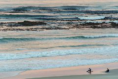 Two surfers sitting on Betty`s Bay beach at sunset in the Western Cape, South Africa royalty free stock photo