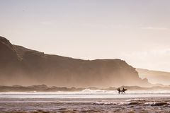 Surfers leaving the ocean on windy day Royalty Free Stock Images