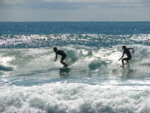 Two surfers riding a wave. Two surfers enjoying the surf on the New Zealand coast in Coromandel Stock Photos