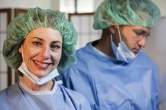 Two Surgeons Post Op Stock Photos
