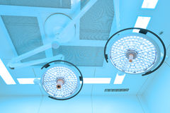 Two surgical lamps in operation room Stock Image