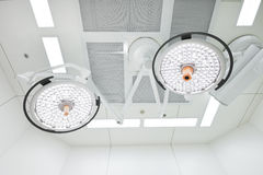 Two surgical lamps in operation room Stock Photos
