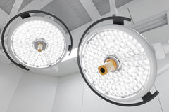 Two surgical lamps in operation room Stock Photo