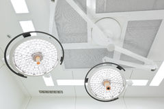 Two surgical lamps in operation room Royalty Free Stock Photography